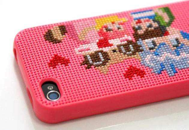 Cross stitched iPhone cover