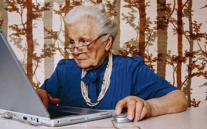 Older woman laptop