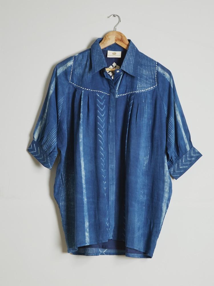 Washed 'Bhuj' embroidered & beaded shirt £60