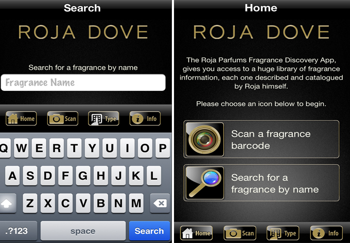 Roja Dove's Scent Search app on the womens room blog
