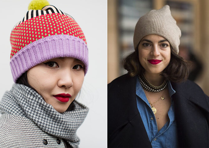 beanies with red lipstick