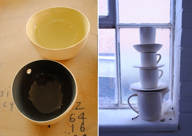 Erica Knight's wool bowl design, left, rejects on the windowsill, right
