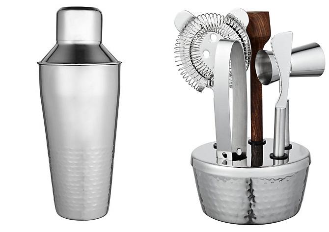 hammered metal cocktail kit