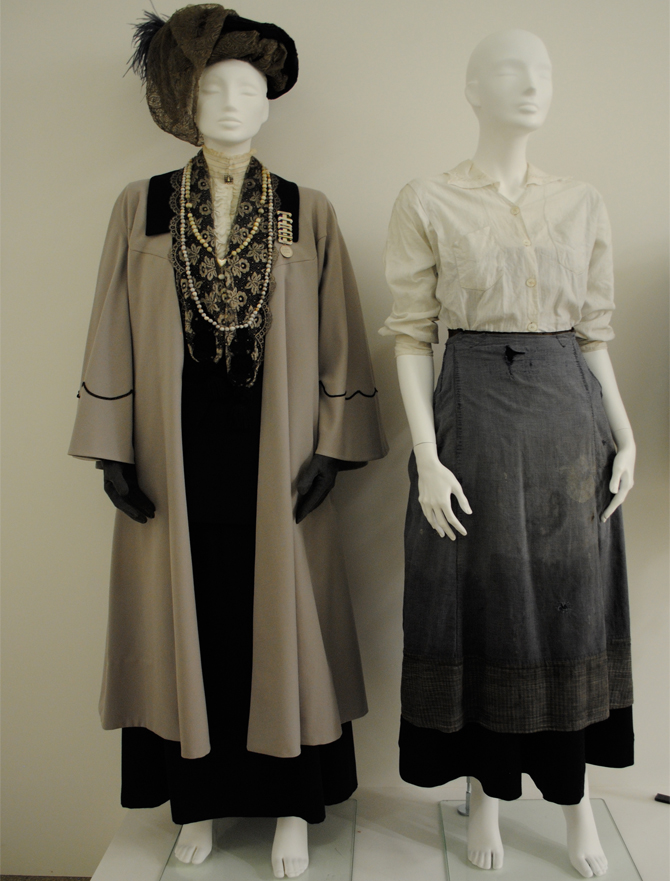 film costume for Meryl Streep as Emmeline  Pankhurst and Carey Mulligan as Maude, in Suffragette, out autumn 2015