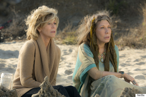 "Jane Fonda and Lily Tomlin in the Netflix Original Series ""Grace and Frankie"". Photo by Melissa Moseley for Netflix."