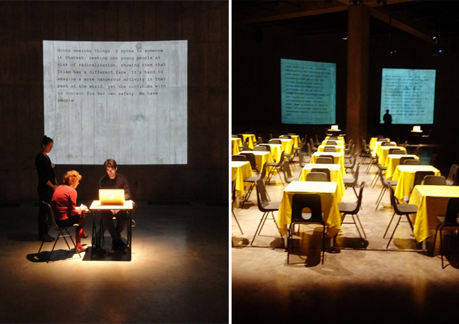 women having their stories transcribed onto the screens in the Tanks, emotional stuff it was too