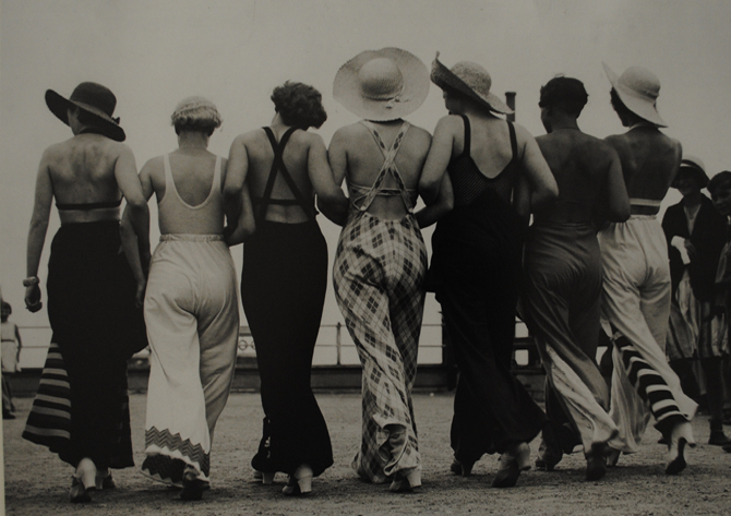A group of women wearing beach pyjamas, 1934