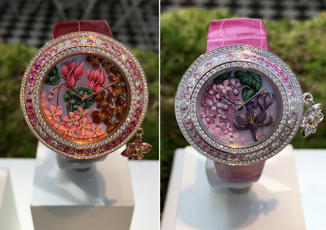 Van Cleef & Arpells Charms Extraordinaire Desir and Amour watches- hand painted enamel and jewel exquisitness