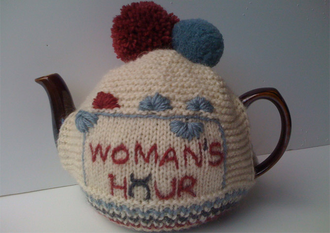 The delightful Woman's Hour tea cosy, as designed by Quinton Chadwick and True Brit Knits